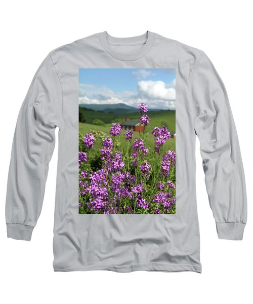Long Sleeve T-Shirt featuring the photograph Purple Wild Flowers On Field by Emanuel Tanjala