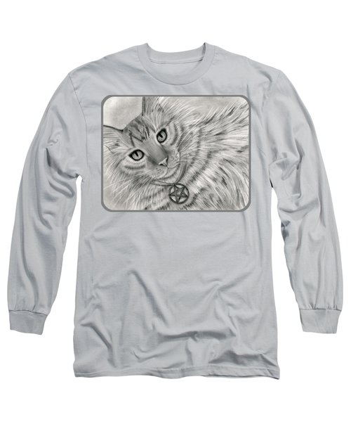 Long Sleeve T-Shirt featuring the drawing Purrfect Page Of Pentacles - Tarot Card Art by Carrie Hawks