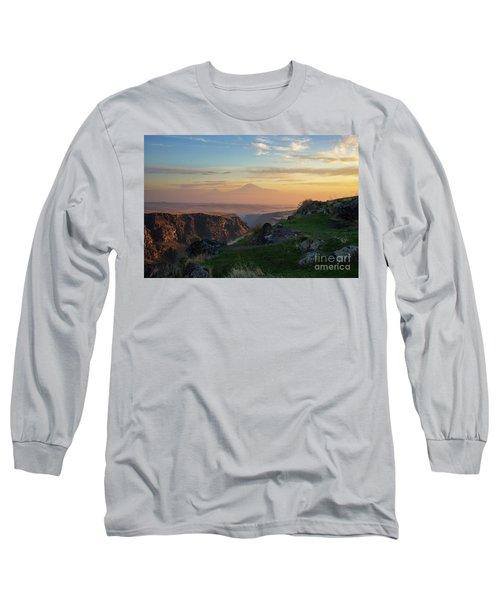 Qasakh Gorge And Ararat Mountain At Golden Hour Long Sleeve T-Shirt by Gurgen Bakhshetsyan