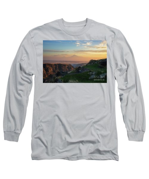 Qasakh Gorge And Ararat Mountain At Golden Hour Long Sleeve T-Shirt