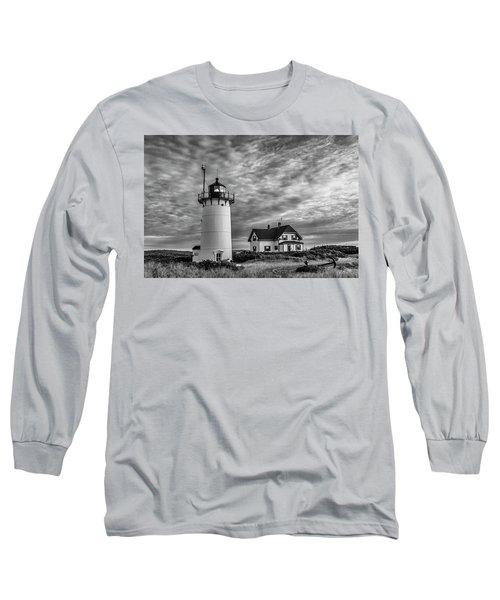Race Point Lighthouse Sunset Bw Long Sleeve T-Shirt