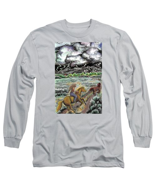 Long Sleeve T-Shirt featuring the drawing Racing The Lightning Home by Dawn Senior-Trask