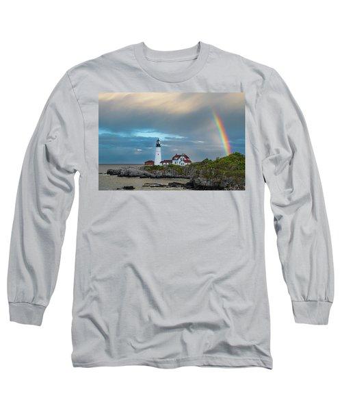 Rainbow Over Portland Head Light Long Sleeve T-Shirt