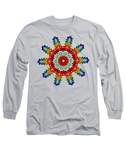 Rainbow Steampunk Sun Fractal Long Sleeve T-Shirt