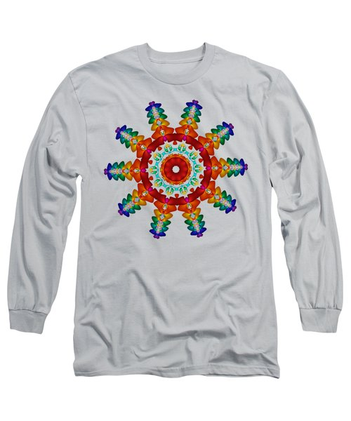Rainbow Steampunk Sun Fractal Long Sleeve T-Shirt