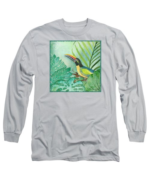 Rainforest Tropical - Jungle Toucan W Philodendron Elephant Ear And Palm Leaves 2 Long Sleeve T-Shirt