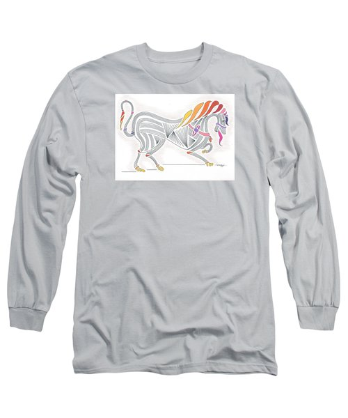 Rarin' To Go -- Stylized Medieval Prancing Horse W/ Rainbow Mane Long Sleeve T-Shirt