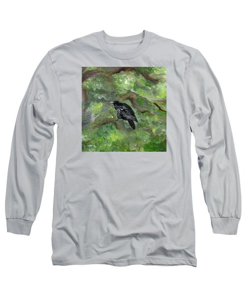 Raven In The Om Tree Long Sleeve T-Shirt by FT McKinstry