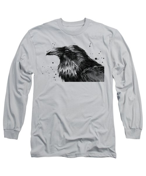Raven Watercolor Portrait Long Sleeve T-Shirt by Olga Shvartsur
