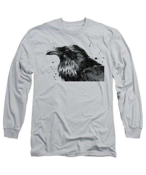 Raven Watercolor Portrait Long Sleeve T-Shirt