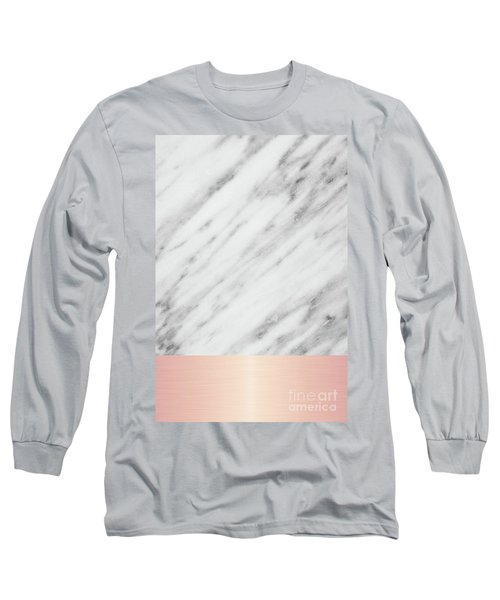 Real Italian Marble And Pink Long Sleeve T-Shirt