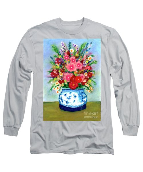 Red And Pink Rose Flower Garden Still Life Painting 615 Long Sleeve T-Shirt