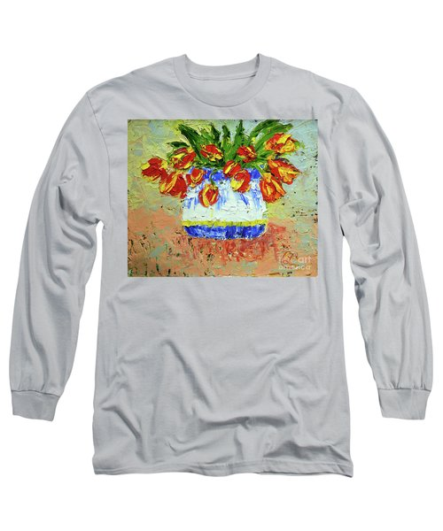 Red And Yellow Tulips Long Sleeve T-Shirt by Lynda Cookson