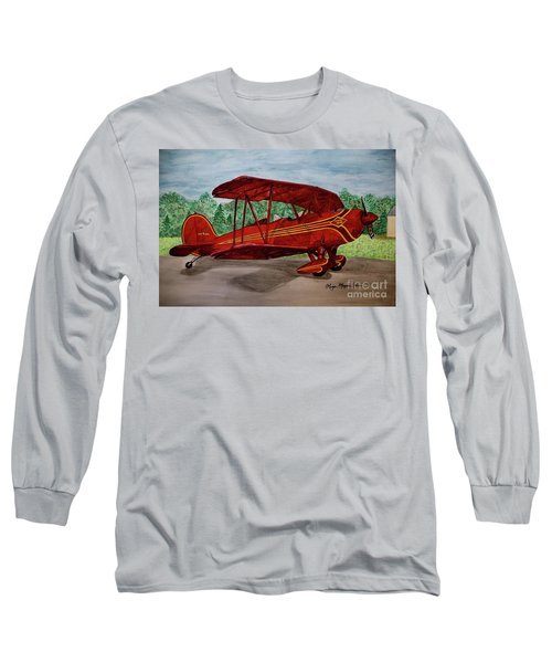 Red Biplane Long Sleeve T-Shirt by Megan Cohen