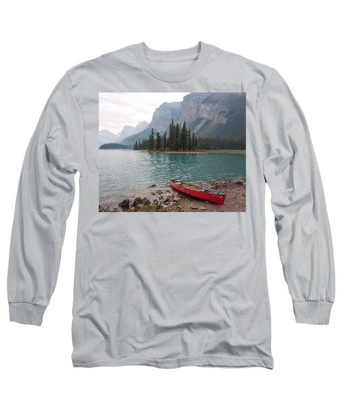 Red Canoe Long Sleeve T-Shirt by Catherine Alfidi