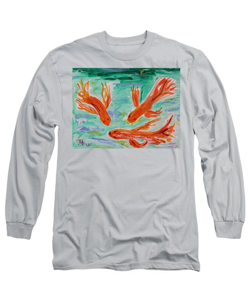 Long Sleeve T-Shirt featuring the painting Red Eye Koi by Mary Carol Williams