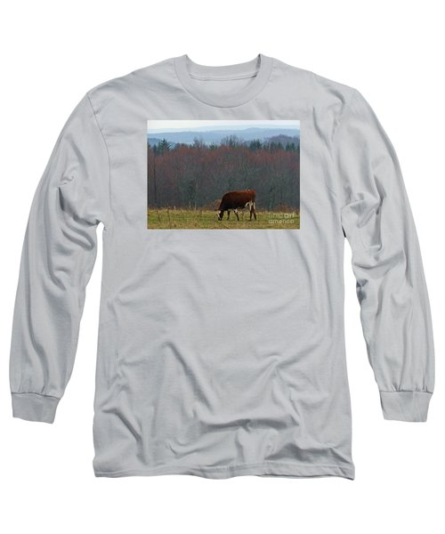 Long Sleeve T-Shirt featuring the photograph Red Holstein Of The Hills by Christian Mattison