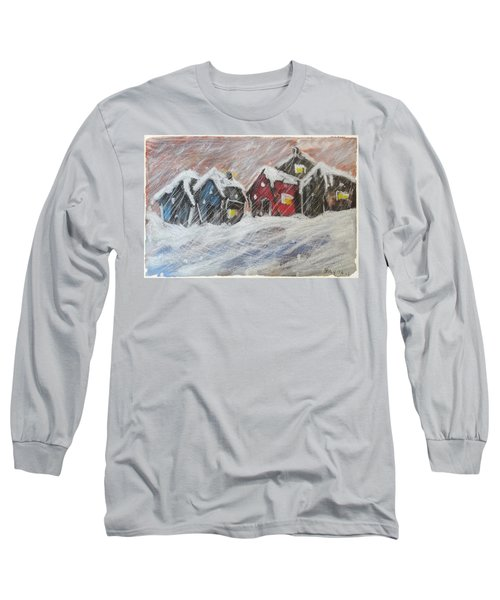 Red House In The Snow Long Sleeve T-Shirt