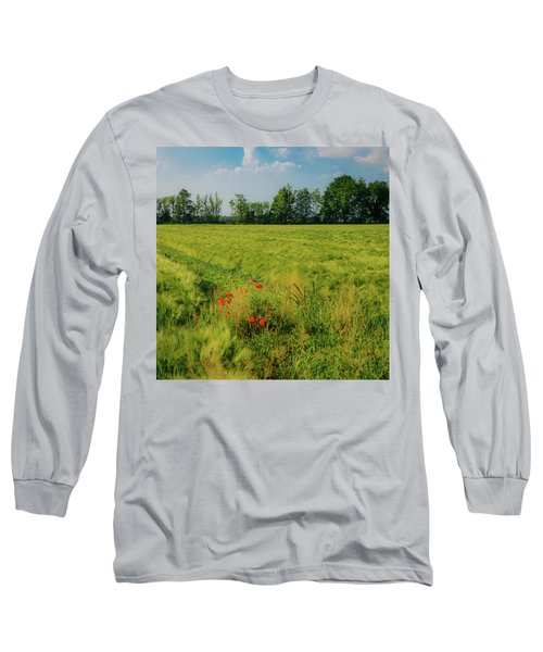 Red Poppies On A Green Wheat Field Long Sleeve T-Shirt
