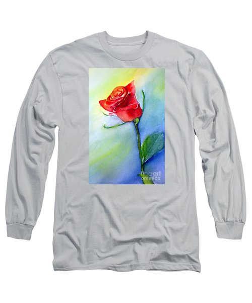 Red Rose Long Sleeve T-Shirt by Allison Ashton