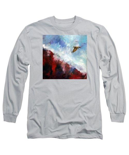 Red Tail Long Sleeve T-Shirt by David  Maynard