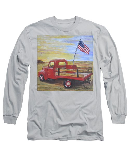 Long Sleeve T-Shirt featuring the painting Red Truck by Debbie Baker