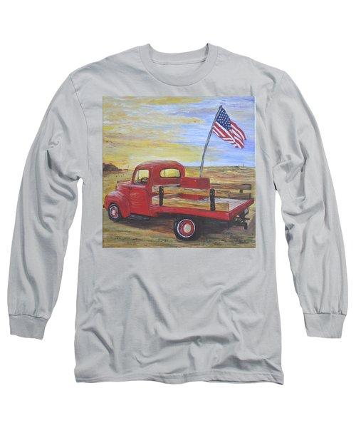 Red Truck Long Sleeve T-Shirt by Debbie Baker