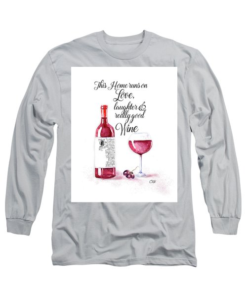 Long Sleeve T-Shirt featuring the digital art Red Wine by Colleen Taylor