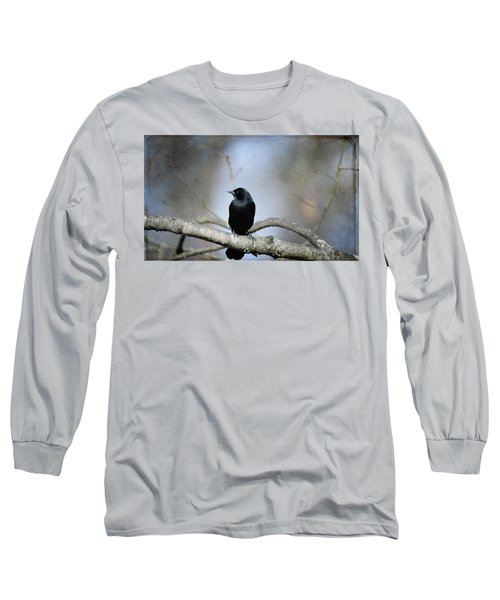 Red-winged Blackbird Long Sleeve T-Shirt by Diane Giurco