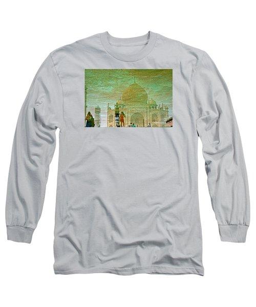 Reflections At The Taj Long Sleeve T-Shirt by Michael Cinnamond