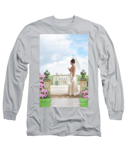 Regency Woman In The Grounds Of A Historic Mansion Long Sleeve T-Shirt