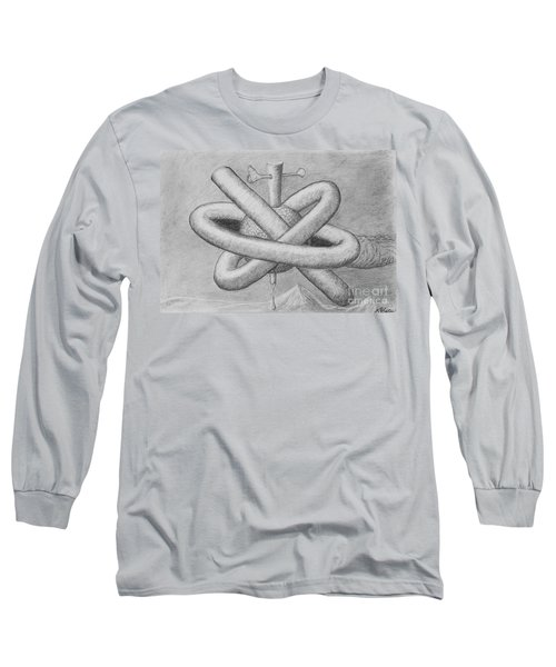 Long Sleeve T-Shirt featuring the drawing Religion Of Science by Yulia Kazansky