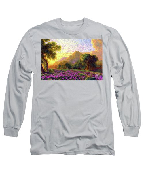 Long Sleeve T-Shirt featuring the painting Rhododendrons, Rabbits And Radiant Memories by Jane Small