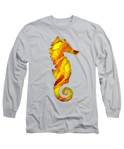 Long Sleeve T-Shirt featuring the mixed media Right Facing Seahorse Ot by Rachel Hannah