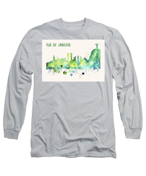 Rio De Janeiro Skyline Watercolor Poster - Cityscape Painting Artwork Long Sleeve T-Shirt