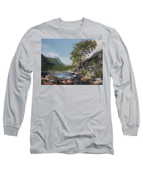 River Coe Scotland Oil On Canvas Long Sleeve T-Shirt