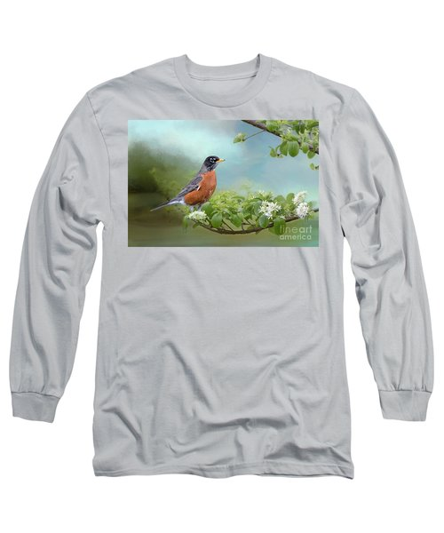 Robin In Chinese Fringe Tree Long Sleeve T-Shirt by Bonnie Barry