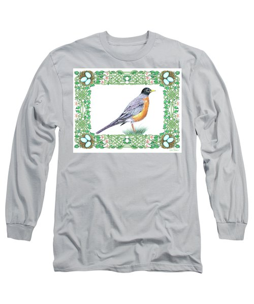 Robin In Spring Long Sleeve T-Shirt by Lise Winne