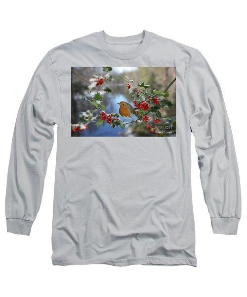 Robin On Holly Branch Long Sleeve T-Shirt