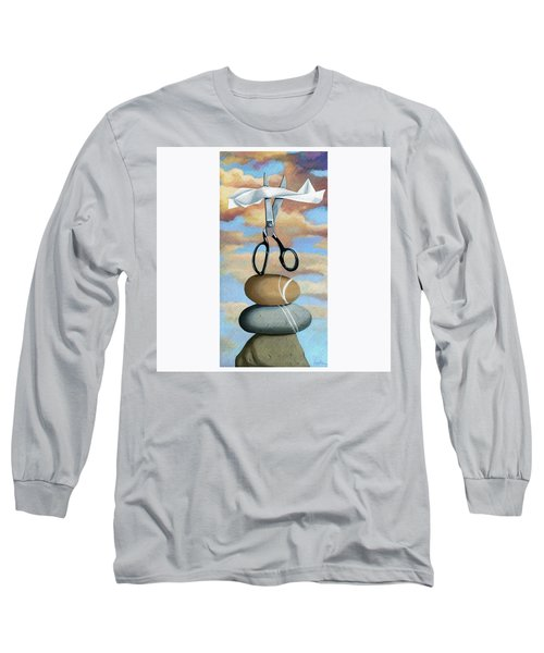 Long Sleeve T-Shirt featuring the painting Rock, Paper, Scissors by Linda Apple