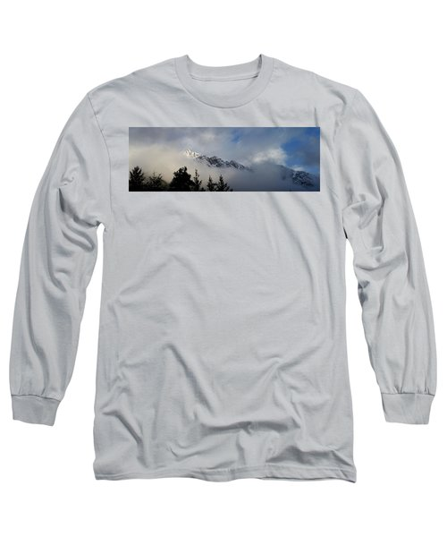 Rockies In The Clouds. Long Sleeve T-Shirt by Ellery Russell