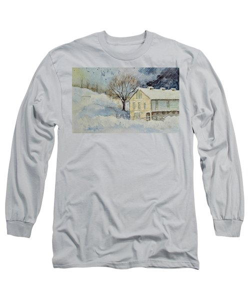 Rockville Farm In Snowstorm Long Sleeve T-Shirt