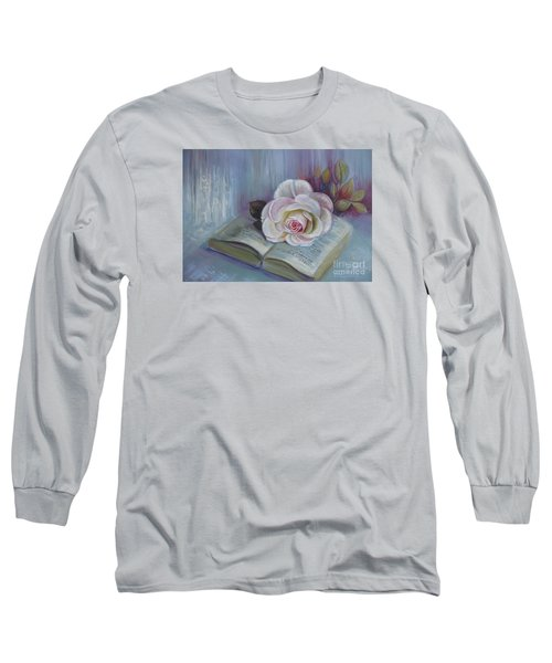 Long Sleeve T-Shirt featuring the painting Romantic Story by Elena Oleniuc