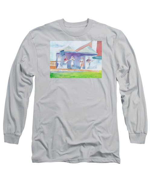 Long Sleeve T-Shirt featuring the painting Roots Retreat Bluegrass by David Sockrider