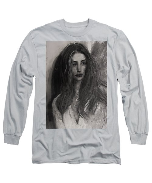 Long Sleeve T-Shirt featuring the painting Rosie Huntington-whiteley by Jarko Aka Lui Grande