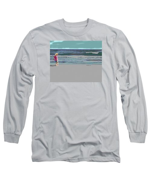 Rosie On The Beach Long Sleeve T-Shirt by Walter Chamberlain