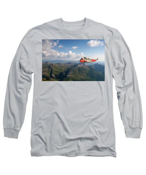 Long Sleeve T-Shirt featuring the digital art Royal Navy Sar Sea King by Pat Speirs