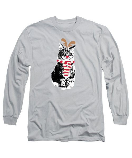Rudolph The Red Nosed Cat- Art By Linda Woods Long Sleeve T-Shirt