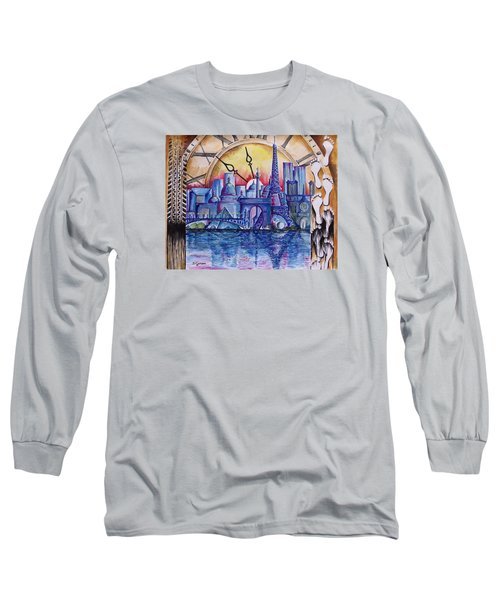 Long Sleeve T-Shirt featuring the painting Rush Hour In Paris by Geni Gorani
