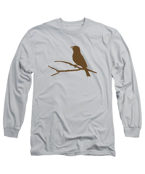 Rustic Brown Bird Silhouette Long Sleeve T-Shirt